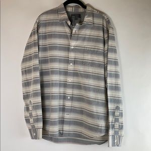 VINCE Striped Casual Button-down Shirt Large